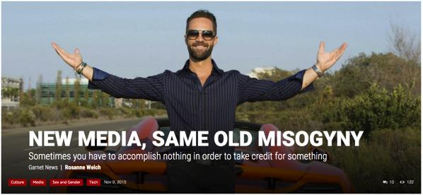 New Media, Same Old Misogyny by Dr. Rosanne Welch for Garnet News