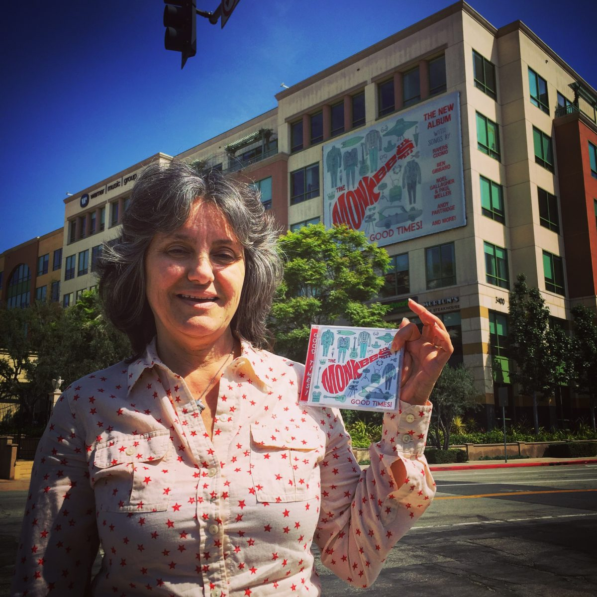 """Outside Warner/Rhino Records with my latest acquisition – The Monkees, """"Good Times"""""""