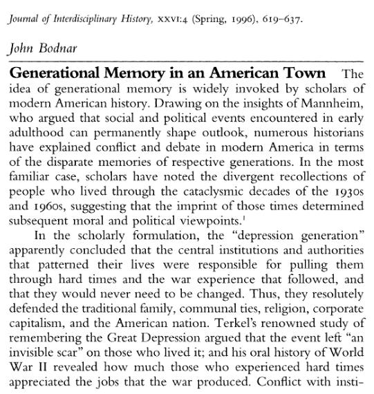 Generational Memory in an American Town