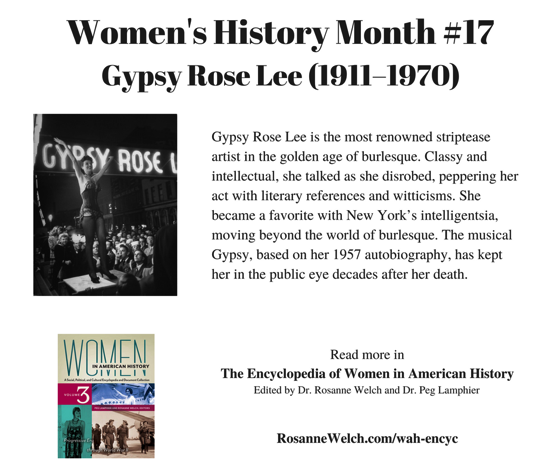 Women's History Month - 17 in a series - Gypsy Rose Lee