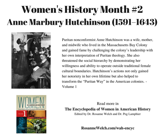 Women's History Month - 2 in a series - Anne Marbury Hutchinson