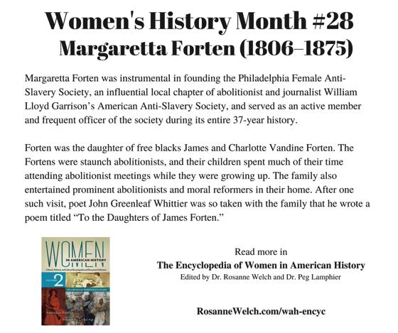 Women's History Month – 28 in a series – Margaretta Forten