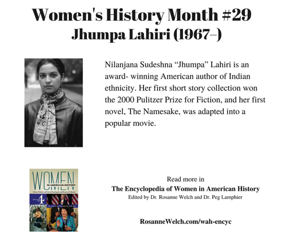 Women's History Month – 29 in a series – Jhumpa Lahiri