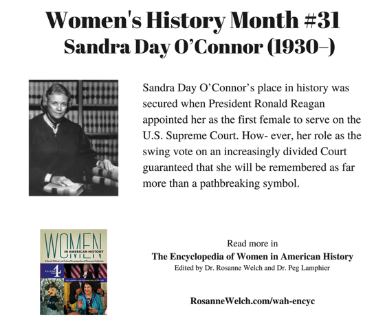 Women's History Month – 31 in a series – Sandra Day O'Connor