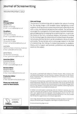 Journal screenwriting v8i2 masthead