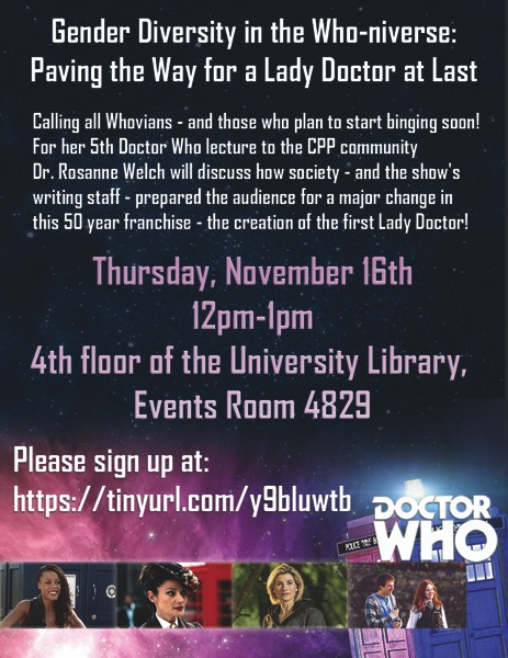 Speaking: Gender Diversity in the Who-niverse: Paving the Way for a Lady Doctor at Last - Nov 16, 2017