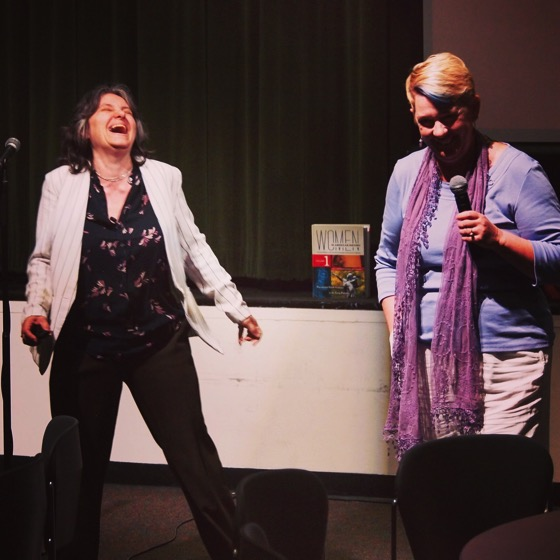 """Dr. Peg Lamphier and Dr. Rosanne Welch present their talk, """"Why this should be the last lecture you should sit through!"""" as part of the Last Lecture Series at Cal Poly Pomona."""