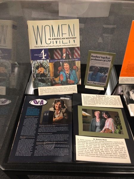 Dr. Rosanne Welch and Dr. Peg Lamphier highlighted in Special Collections Library Display at Cal Poly Pomona