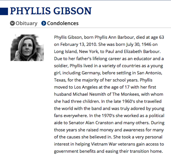 From The Research Vault: Phyllis (Nesmith) Gibson. Obituary. (2010, February 25). Los Angeles Times.