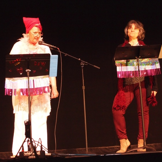 Rosanne Welch and Peg Lamphier perform in The Vagina Monologues at Cal Poly Pomona