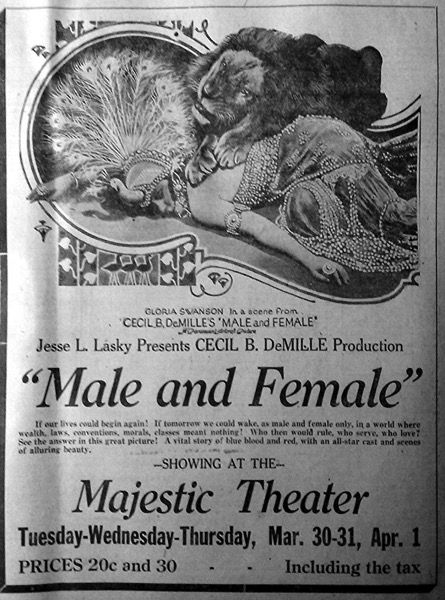 A History of Screenwriting 56 - Male and Female starring Gloria Swanson - Written by Jeanie Macpherson - 1919