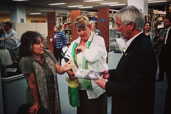 Myself, Peg Lamphier and author, Terrence Young discuss his book, Heading Out: A History of American Camping after the Cal Poly Pomona Golden Leaves presentations at Cal Poly Pomona University Library