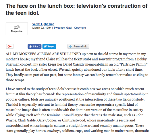 From The Research Vault: The face on the lunch box: television's construction of the teen idol by Gael Sweeney (1994)