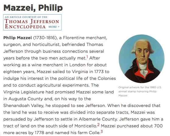 More On Mazzei: Filippo Mazzei on the Monticello Web Site