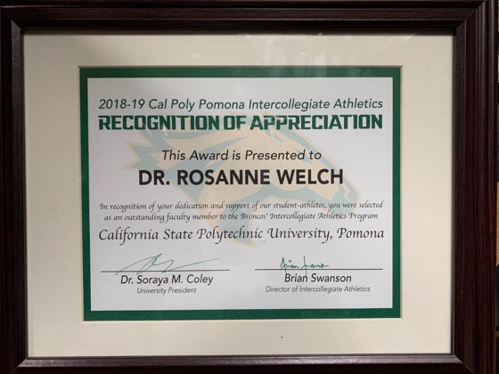 Dr. Rosanne Welch receives her award at the 2019 Faculty & Staff Appreciation Night, Cal Poly Pomona [Video]