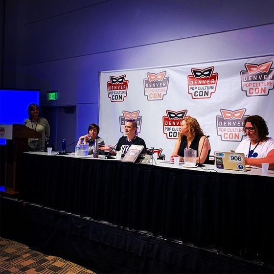 "Dr. Rosanne Welch and writers from ""When Women Wrote Hollywood"" at the Denver Pop Culture Con via Instagram"