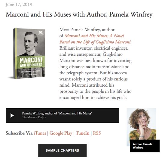 The Mentoris Project Podcast: Marconi and His Muses with Author, Pamela Winfrey [Audio]