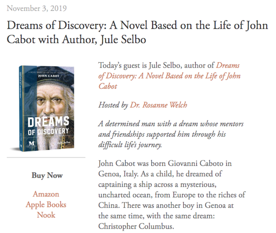 Mentoris Project Podcast: Dreams of Discovery: A Novel Based on the Life of John Cabot with Author, Jule Selbo [Audio]