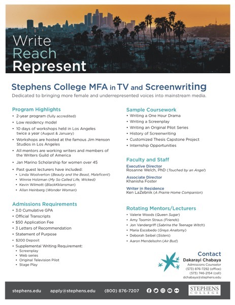 New Stephens College MFA in TV and Screenwriting One Sheet - Please Pos and Share!
