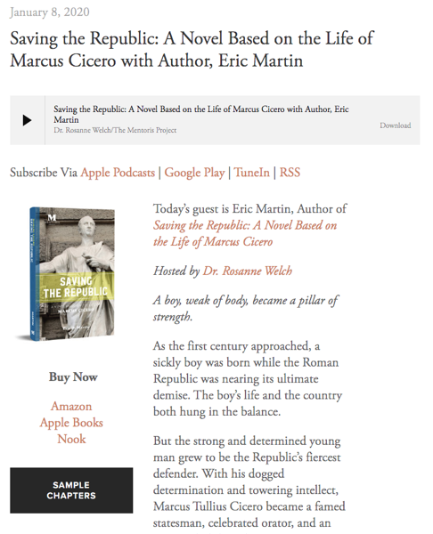 Mentoris Project Podcast: Saving the Republic: A Novel Based on the Life of Marcus Cicero with Author, Eric Martin