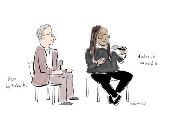 Liza Donnelly is live-drawing and tweeting the Athena Film Festival — Valerie Woods and Ken LaZebnik of the Stephens College MFA in TV and Screenwriting