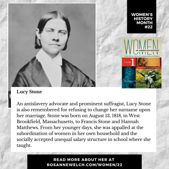 Women's History Month 22: Lucy Stone