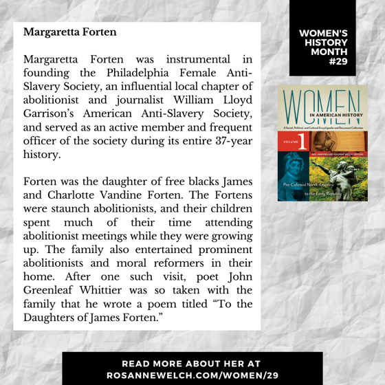 Women's History Month 29: Margaretta Forten