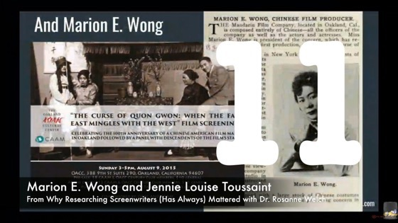11 Marion E. Wong & Jennie Louise Toussaint from Why Researching Screenwriters (has Always) Mattered