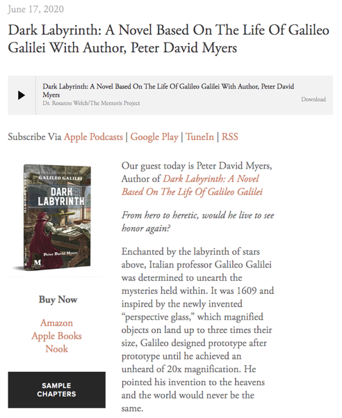 Mentoris Project Podcast: Dark Labyrinth: A Novel Based On The Life Of Galileo Galilei With Author, Peter David Myers