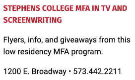 Stephens College MFA in TV and Screenwriting will be at the 2021 True/False Film Fest, Columbia, Missouri, May 7-9, 2021