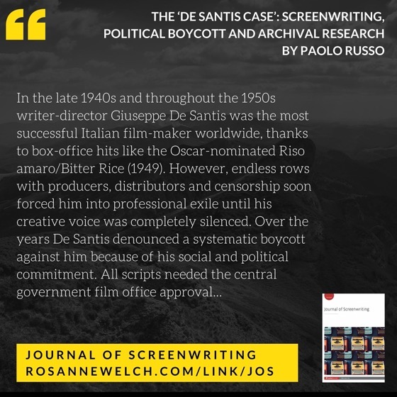 From The Journal Of Screenwriting V5 Issue 1: The 'De Santis case': Screenwriting, political boycott and archival research by Paolo Russo
